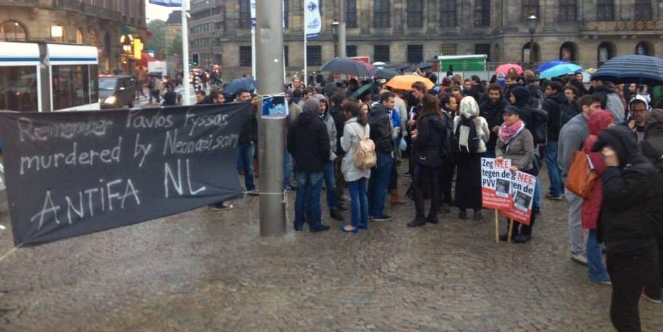 Αντιφασιστική διαμαρτυρία Ελλήνων στο Άμστερνταμ